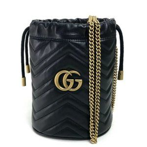 GUCCI GG Marmont Double G Mini Bucket Drawstring B